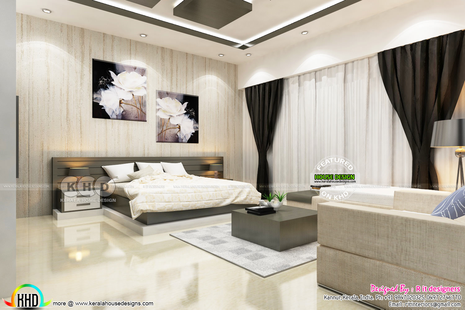 Bedroom and dressing area interior kerala home design for Dressing area in bedroom