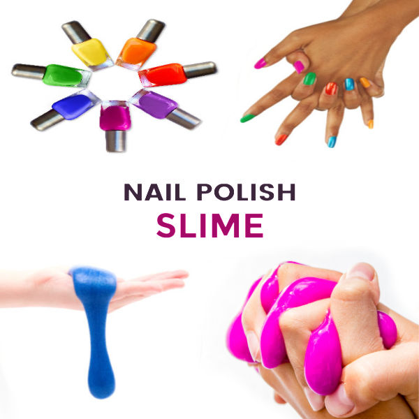 Turn nail polish into slime!  This easy craft recipe will wow the kids- no borax or liquid starch needed! #nailpolishslimerecipe #nailpolishslime #nailpolishslimediy #slimerecipewithcontactsolution #slime #slimerecipe #slimerecipeeasy #slimenailpolish #slimeforkids