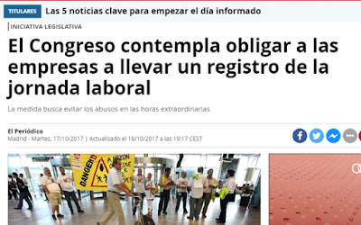 Titular El periódico sobre ley de registro de jornada laboral y horario de los trabajadores