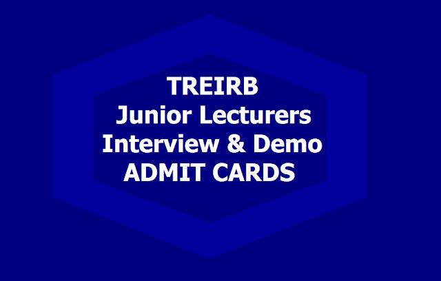 TREIRB JL Interview and Demo Admit Cards 2019 Download (Junior Lecturers)
