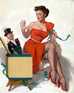 Mujer de rojo abriendo una caja de sorpresas