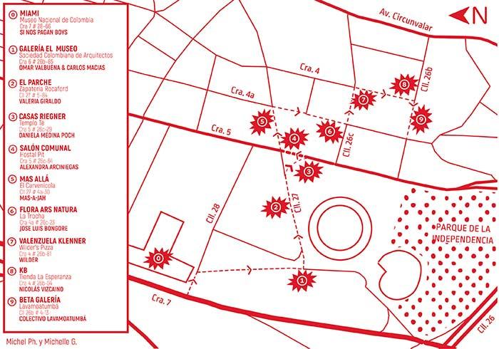 Mapa de la exposición Se indican los lugares y los artistas seleccionados