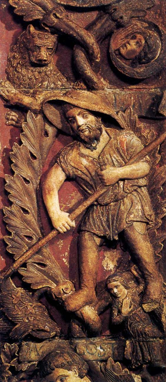 13th century bas-relief of the month of July, Central door, Basilica San Marco, Venice