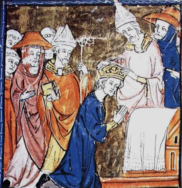 São Leão III coroa Carlos Magno e restaura o Império Romano de Ocidente, que passou a ser o Sacro Império Romano Alemão