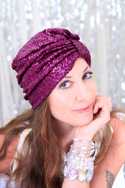 Sequin Turban in Wine by Mademoiselle Mermaid