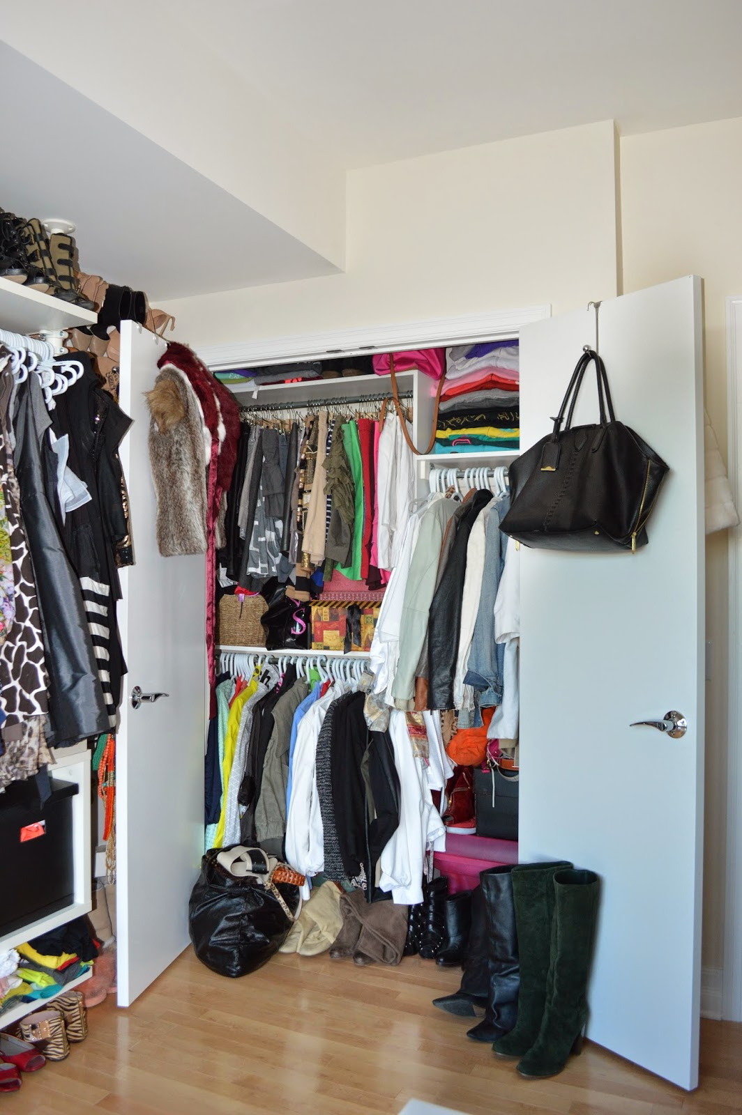 Inside The U0027realu0027 Closet I Keep Jackets, Skirts And Folded Sweats U0026  Hoodies. There Are Also Several Boxes Stuffed Underneath Filled With  Leggings, Tights, ...