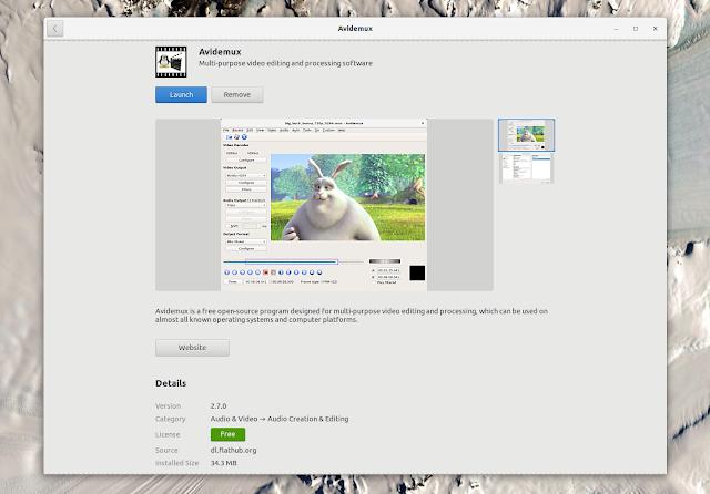 Avidemux Flathub Gnome Software Ubuntu