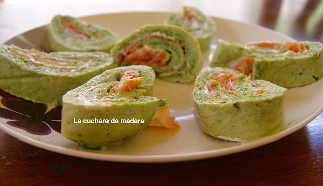 Rollo De Rucula Y Espinacas Relleno De Salmon