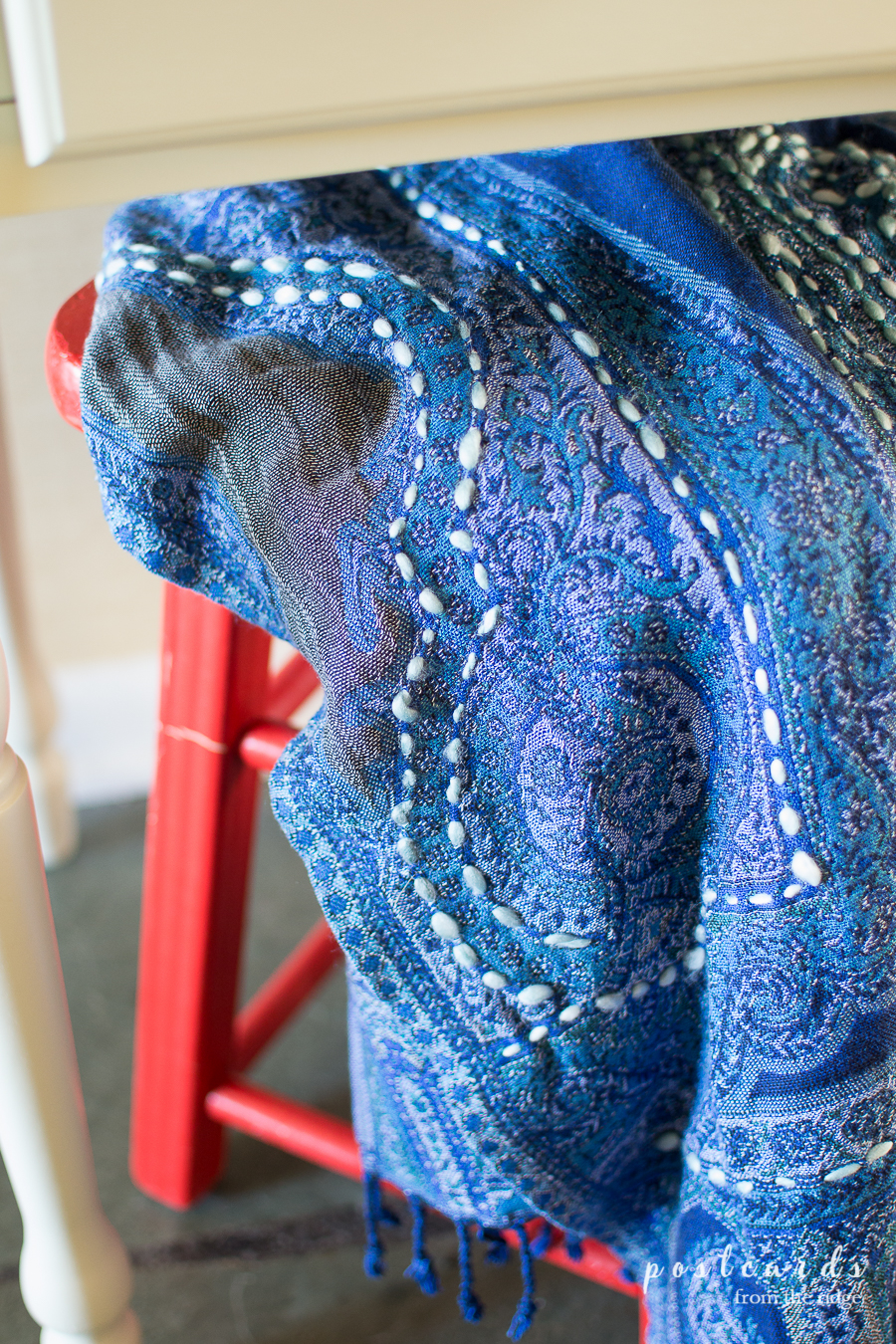 blue paisley wrap scarf