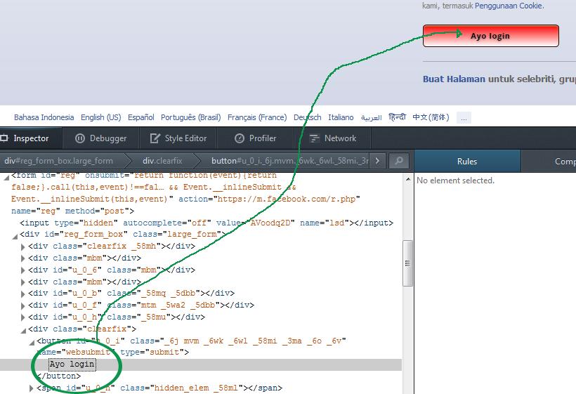 Melihat HTML pada bagian inspector