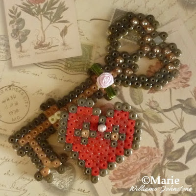 Heart and key perler fused beads