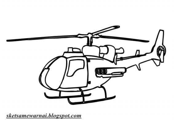 Sketsa Mewarnai Gambar Helikopter Sketsa Mewarnai