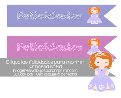 Etiquetas de felicidades con princesa sofia para imprimir
