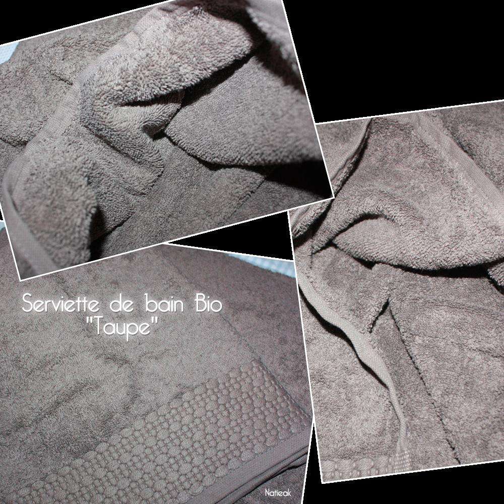Serviette  de coton bio taupe  de i fil home