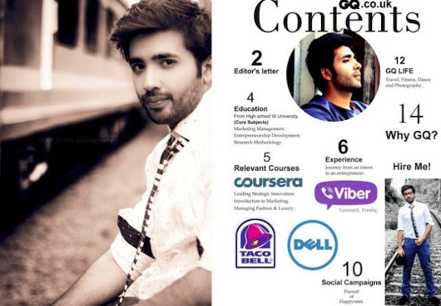 daftar isi CV resume infografis kreatif