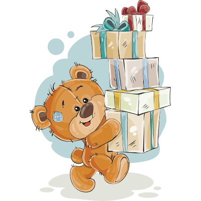Teddy bear with presents