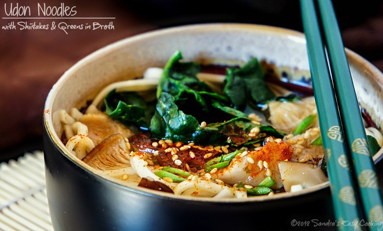 Easy Recipe for Japanese Udon noodles with Shiitake mushrooms & Greens in Broth