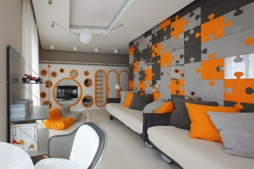 Dormitorio adolescente naranja y gris