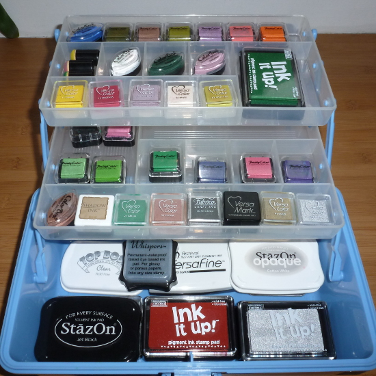 Ink pads for rubber stamping paper craft in box organizer