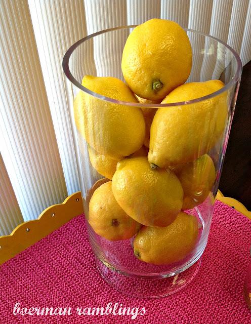 lemons in vase
