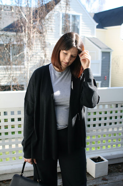 AllSaints, Everlane, Wide leg pants, YSL BAG, Black, OOTD, merino wool, Mommy blog, Chic outfit, casual