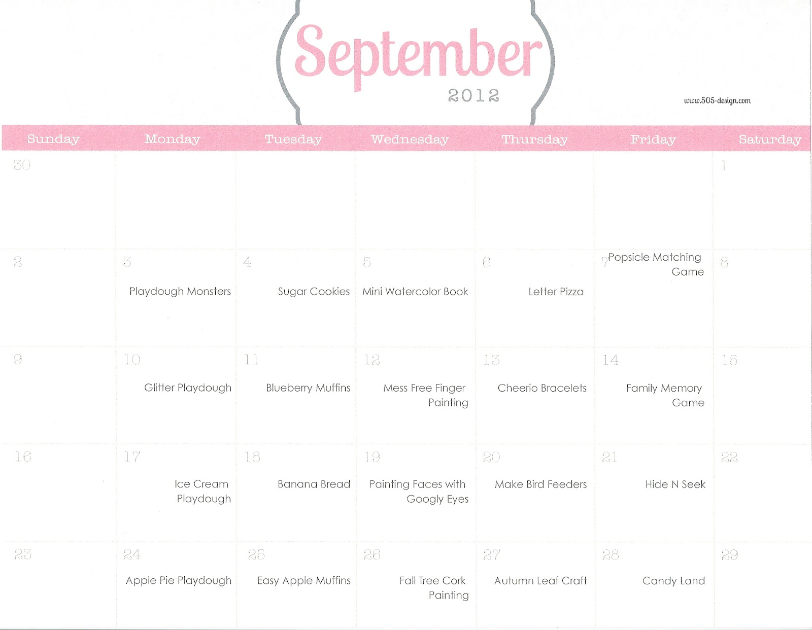 Playing House Calendar Of Activities September