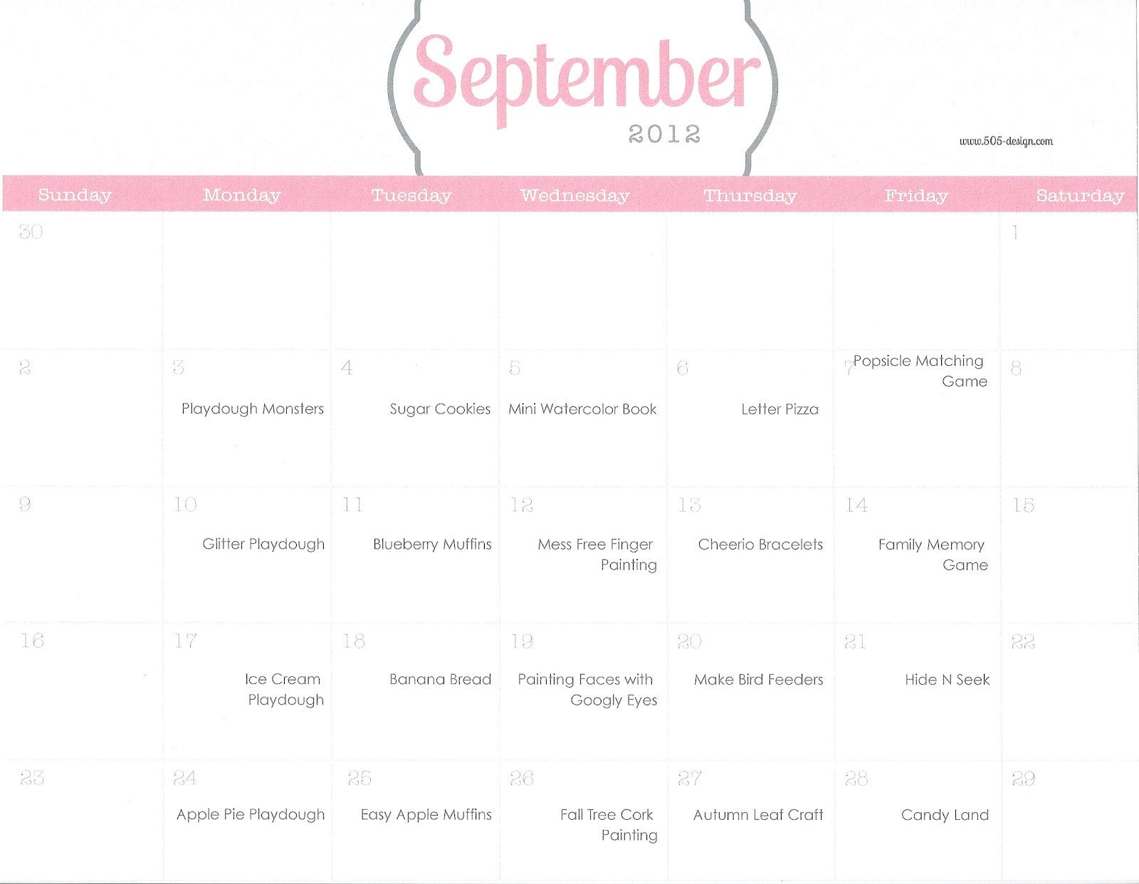 Playing House Calendar Of Activities September