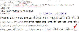 Adding ToC Code in Blogger Post HTML