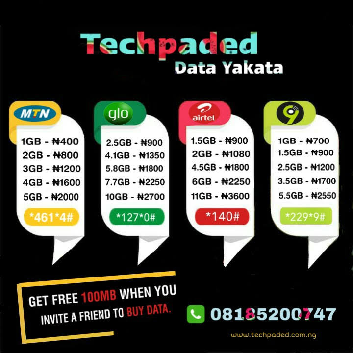 cheapest MTN, Airtel, glo, 9mobile SME Data Nigeria, techpaded data Yakata