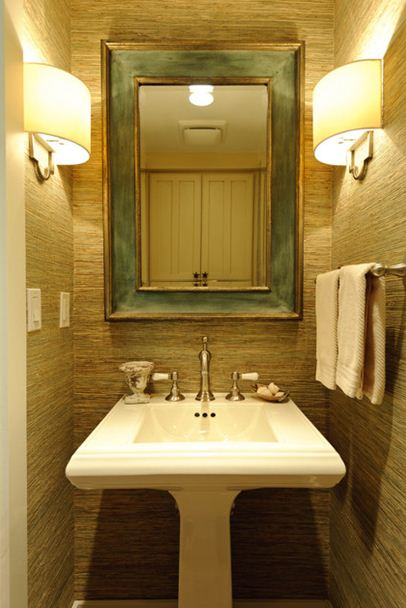 Green And Beige Small Bath Decorating Ideas Sconces On Side Walls Pedestal  Sink