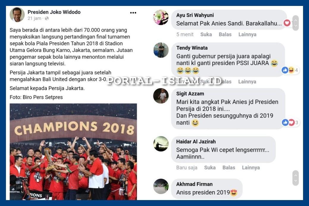 Postingan Akun Fb Presiden Jokowi Malah Dibanjiri Ucapan Simpatik Untuk Anies Dan Ganti Presiden 2019 Portal Islam
