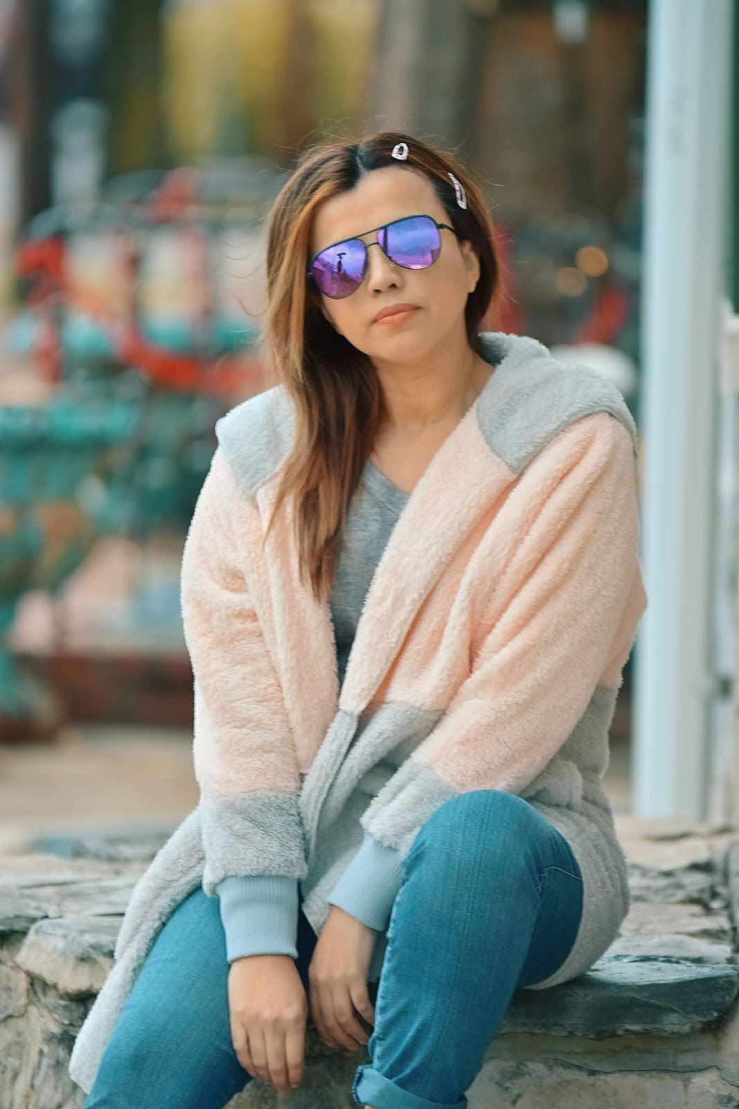 Light Pink Color Block Hooded Fleece Cardigan by Mari Estilo-lookbookstore-spring 2019-fashionblogger-dcblogger-marisolflamenco-itgirl-modaelsalvador-modamexico-travelblogger-