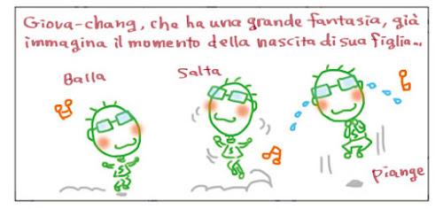 Giova-chang, che ha una grande fantasia, già immagina il momento della nascita di sua figlia... Balla Salta Piange