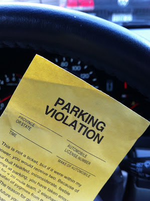 spreading negative energy through an angry fake parking ticket