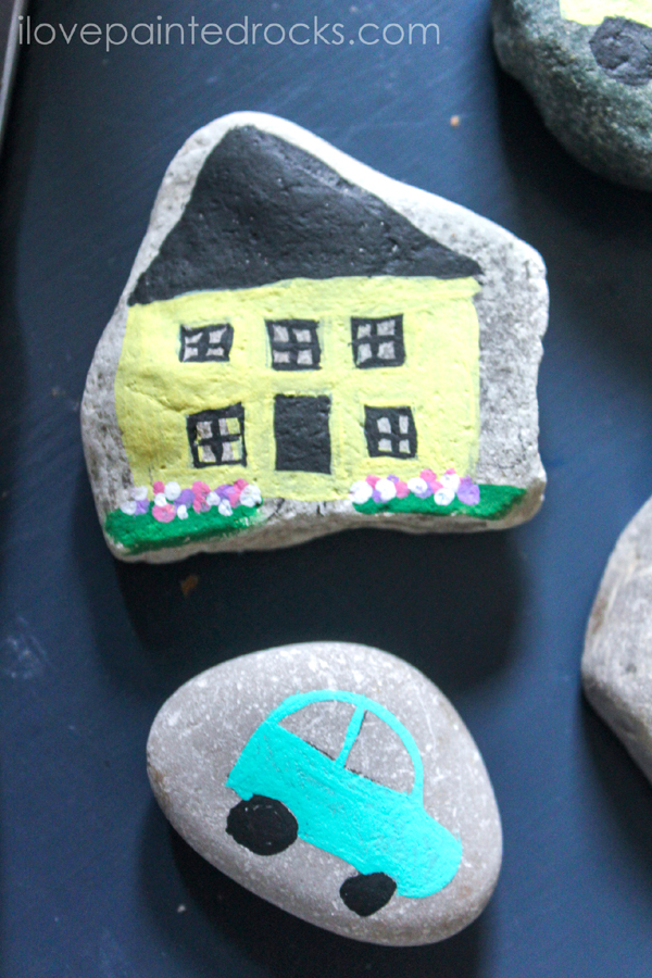 How to paint rocks step by step - painting tiny houses and fairy doors