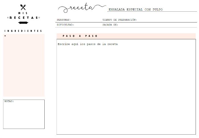 recetario recipe editar recetas digitales