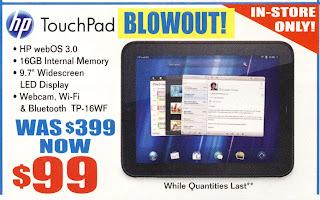 HP Touchpad銷情慘淡,被逼大劈價。