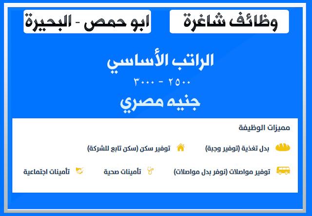 الوظيفة: فنى سيراميك - ابو حمص - البحيرة الراتب الأساسي 2500 - 3000  جنيه مصري