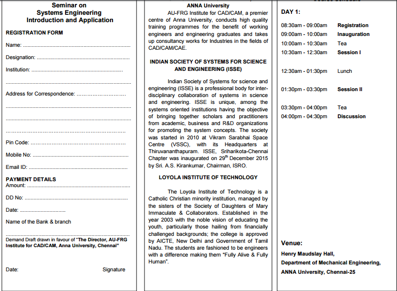 Seminar on Systems Engineering Introduction and Application