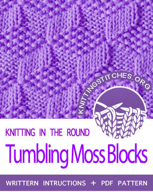 Reversible Stitch Pattern. Learn How to knit the Tumbling Moss Blocks stitch (Seed Stitch Diamonds). Worked in the round
