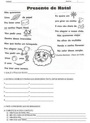 Natal Atividades Interpretacao E Producao De Texto Exercicios Para