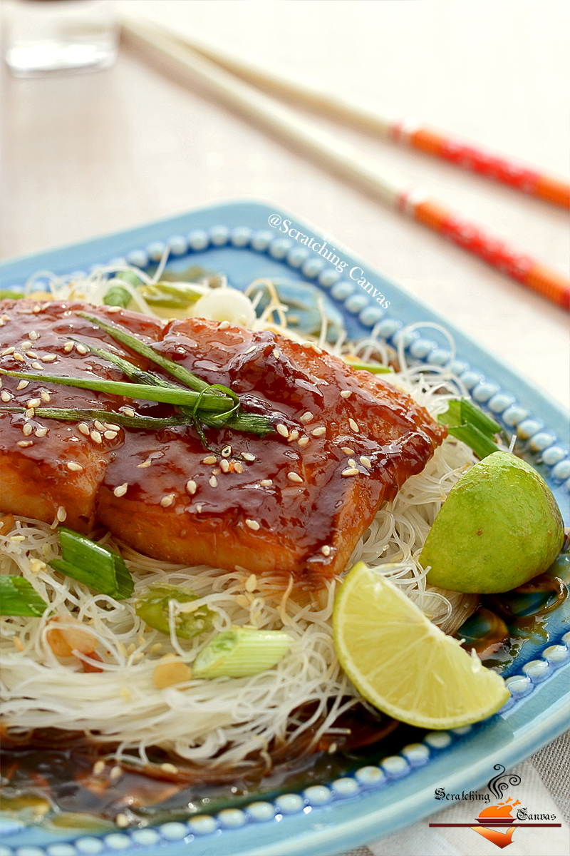 Rice Vermicelli Noodles with Asian Teriyaki Fish