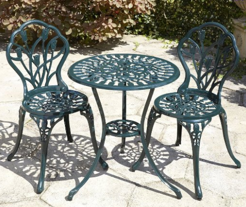 Green Tulip Cast Aluminum Bistro Set