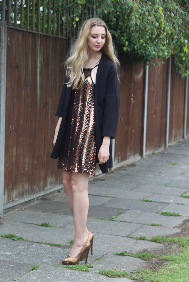 gold sequin dress aw15