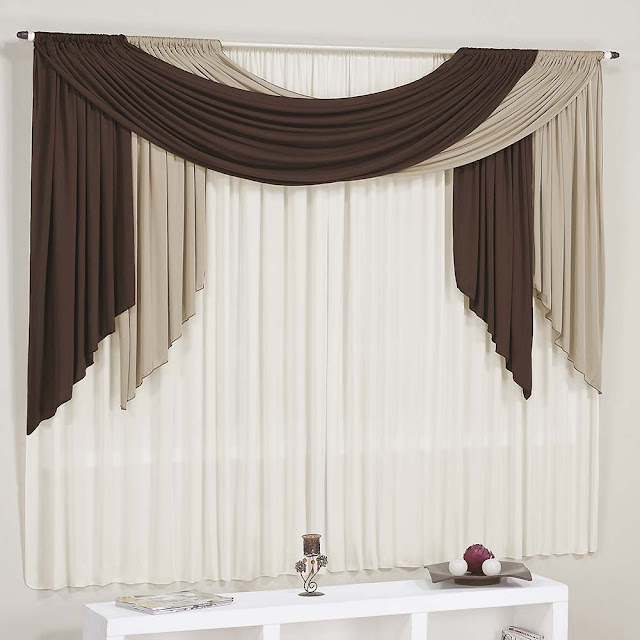 modern brown and white living room curtains