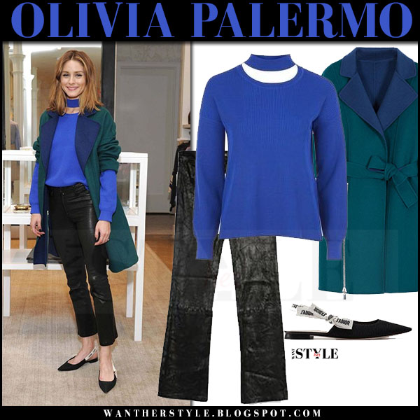 Olivia Palermo in green coat, blue topshop sweater and black pants paige denim carine what she wore june 2017
