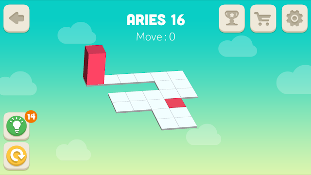 Bloxorz Aries Level 16 step by step 3 stars Walkthrough, Cheats, Solution for android, iphone, ipad and ipod