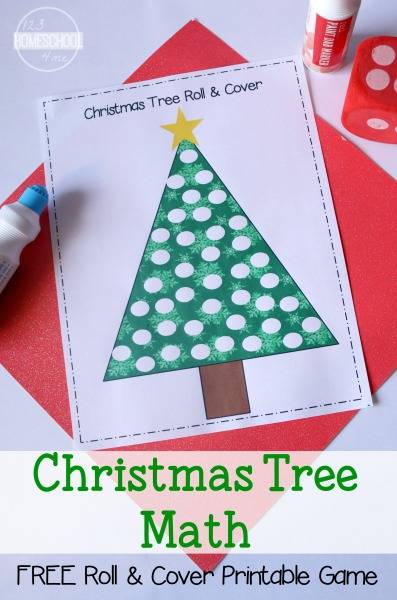 FREE Christmas Tree Roll and Cover Math Printable | School Time Snippets