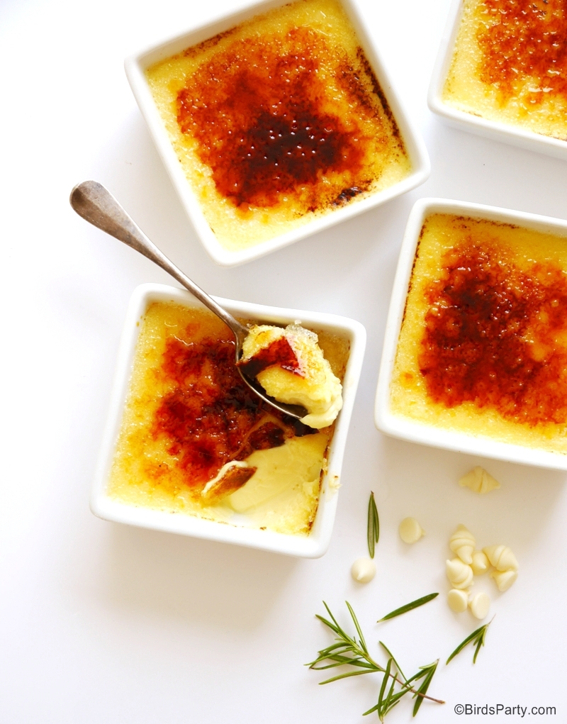 White Chocolate & Rosemary Crème Brulée Recipe - BirdsParty.com