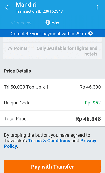 bayar traveloka dengan transfer bank